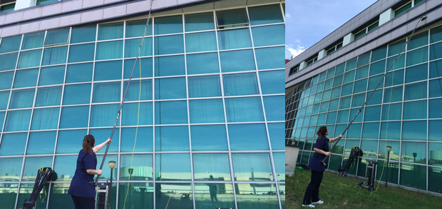 Pulizia vetrate grandi altezze Disan Service
